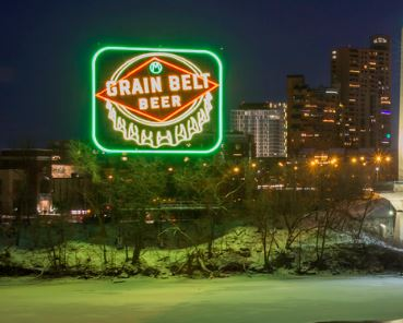 Iconic Grain Belt Sign Lights Again