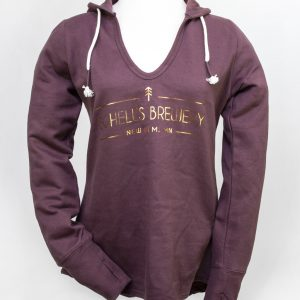 Women's Plum and Gold Deep V-Neck Hoodie